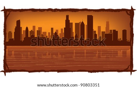 Chicago skyline with reflection in water - stock vector