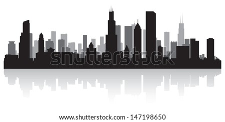 Chicago USA city skyline silhouette vector illustration - stock vector