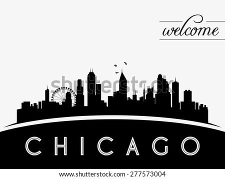 Chicago USA skyline silhouette, black and white design, vector illustration - stock vector