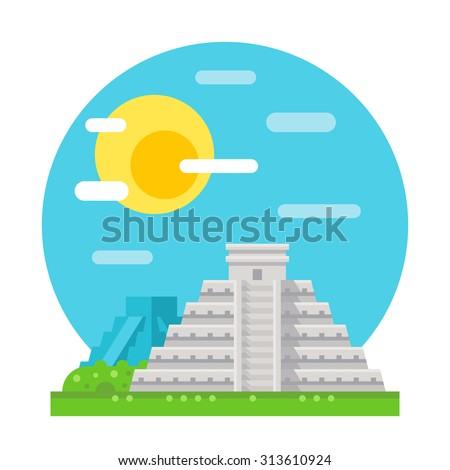 Chichen Itza flat design landmark illustration vector - stock vector