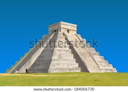 Chichen Itza Mayan illustration in triangular pattern style - stock vector