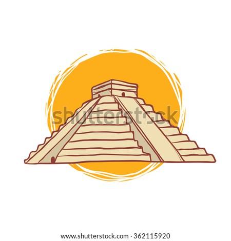 Chichen Itza MexicoHand-Drawn Illustration - stock vector