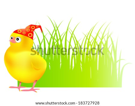 chick in grass - stock vector