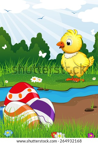 Chicken and Easter eggs near the creek on a green spring meadow. Easter scene - stock vector