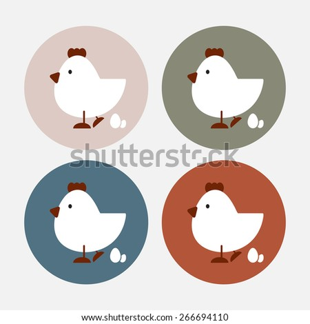 chicken and egg  icon with color variations in vintage style, vector EPS 10. - stock vector