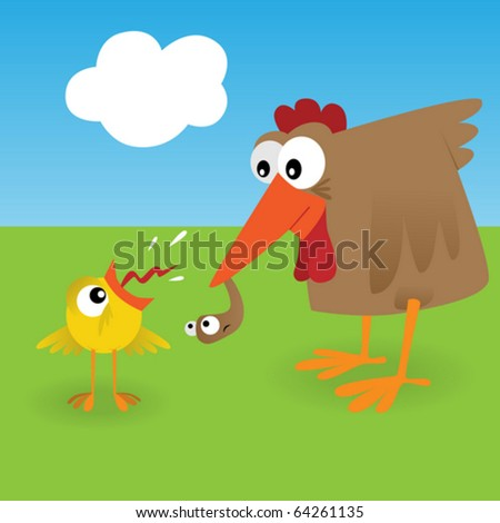 Chicken and worm - stock vector