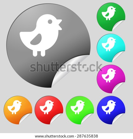 chicken, Bird icon sign. Set of eight multi colored round buttons, stickers. Vector illustration - stock vector