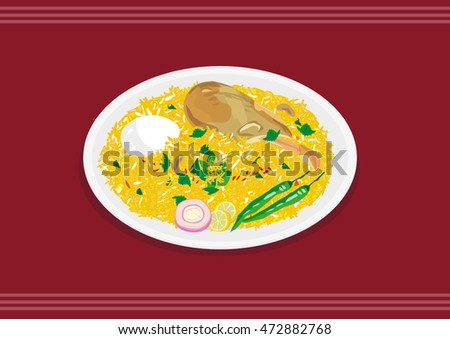 Chicken Biryani in India and Mideast or Danpauk in Burma is a mixed food with egg, rice, spices and greens. Editable Clip Art.