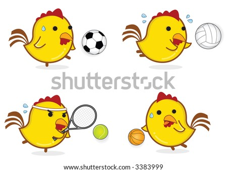 Chicken Cartoon Emoticon Series - Sports - stock vector