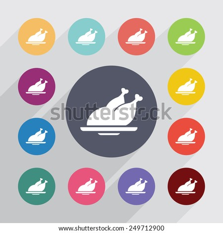 chicken circle, flat icons set. Round colorful buttons  - stock vector