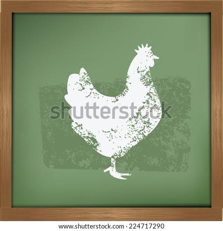Chicken design on blackboard background,vector - stock vector