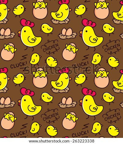chicken doodle background - stock vector