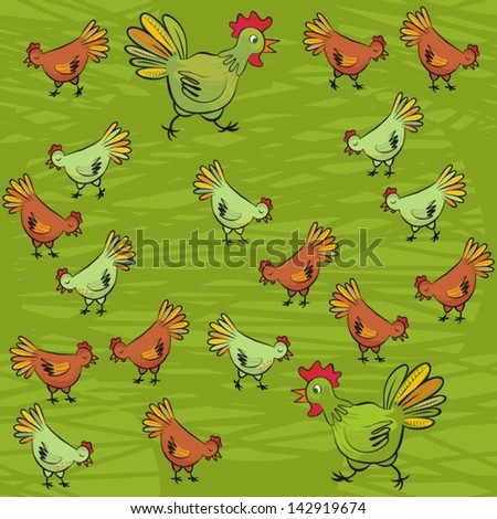 ... animal wildlife illustration on dark green background - stock vector
