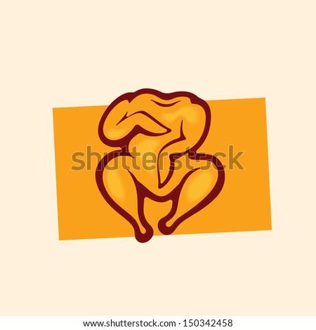 Chicken grill concept. Chicken solarium concept. Grilled chicken icon. Logo template. - stock vector