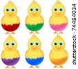 Chicken hatching out from colorful eggs isolated on white. Vector - stock vector