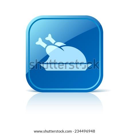Chicken icon on blue web button - stock vector