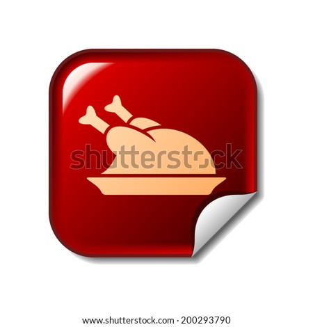Chicken icon on red web sticker - stock vector