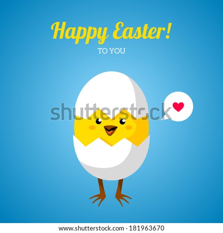 Chicken in egg shell. Vector illustration. Cute character. Happy Easter greeting card design. Place for your text message. Speech bubble with heart sign. Baby chick hatch out. - stock vector