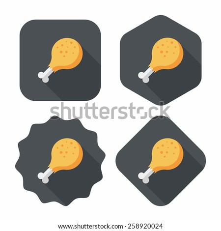 Chicken legs flat icon with long shadow,eps10 - stock vector