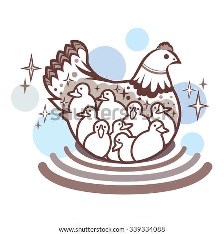 chicken logo - stock vector