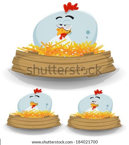 Chicken Nest And Wood Banner/ Illustration of a cute funny cartoon chicken hen character nest, setting farm eggs with wood blank banner for rural restaurant, agriculture or easter holidays background - stock vector