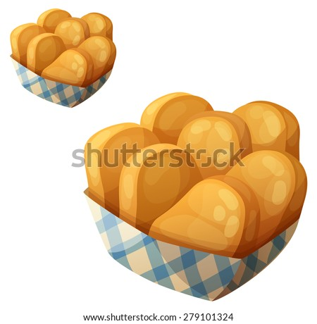 Chicken nuggets in the paper basket. Detailed vector icon isolated on white background. Series of food and drink and ingredients for cooking. - stock vector
