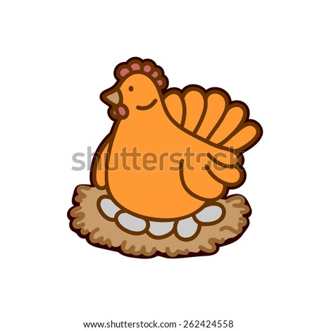 chicken on a nest with eggs - stock vector