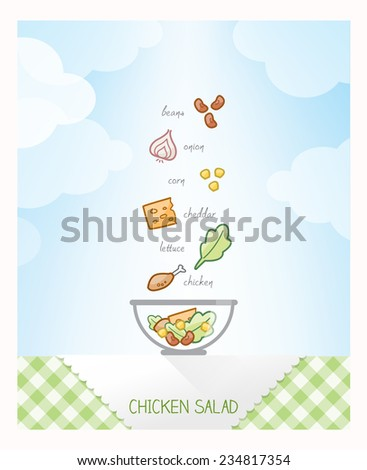 Chicken salad recipe with ingredients falling in a bowl on a checked tablecloth, sky on background - stock vector