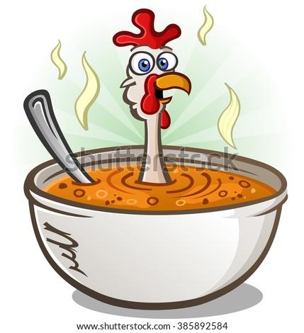 Chicken Soup Cartoon Character - stock vector