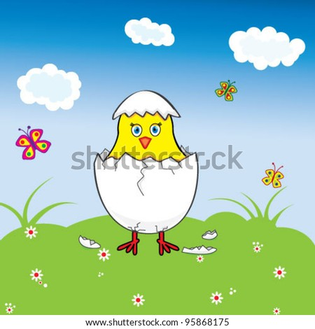 Chicken with egg shell on meadow - stock vector