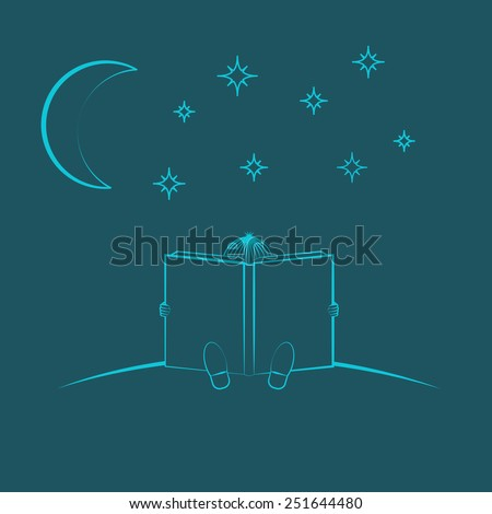 Chid sitting and read book in the night sky - stock vector