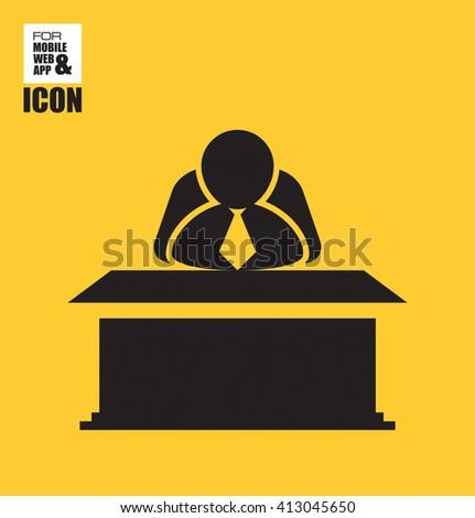 Chief behind icon - stock vector