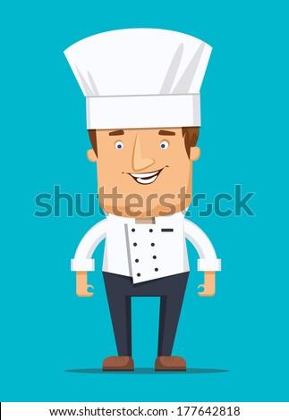 Chief chef cook in kitchen luxury restaurant in uniform illustration - stock vector