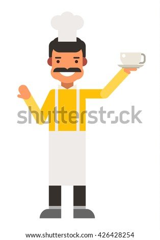 Chief cook. Flat vector illustration. People occupation character - stock vector