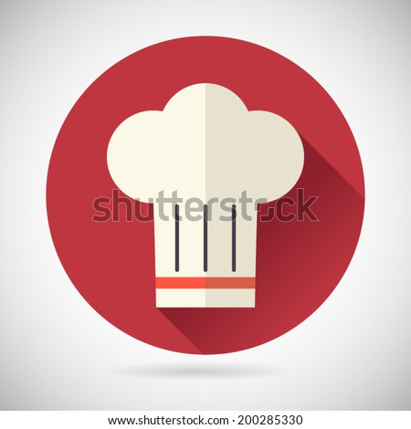 Chief Cook Symbol Toque Cuisine Food Icon on Stylish Background Modern Flat Design Vector Illustration - stock vector