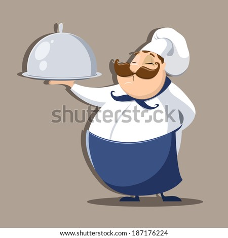 Chief cook with delicious dish - stock vector