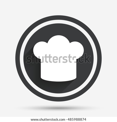 Chief hat sign icon. Cooking symbol. Cooks hat. Circle flat button with shadow and border. Vector