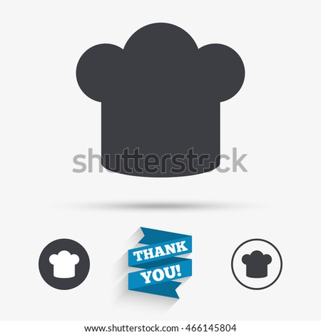 Chief hat sign icon. Cooking symbol. Cooks hat. Flat icons. Buttons with icons. Thank you ribbon. Vector