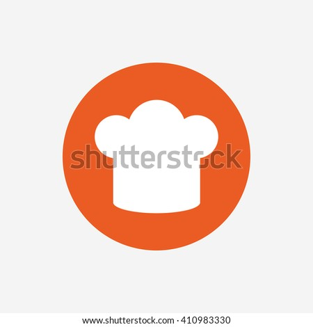 Chief hat sign icon. Cooking symbol. Cooks hat. Orange circle button with icon. Vector