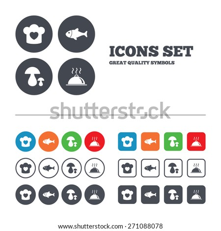 Chief hat with heart and cooking pan icons. Fish and boletus mushrooms signs. Hot food platter serving symbol. Web buttons set. Circles and squares templates. Vector - stock vector