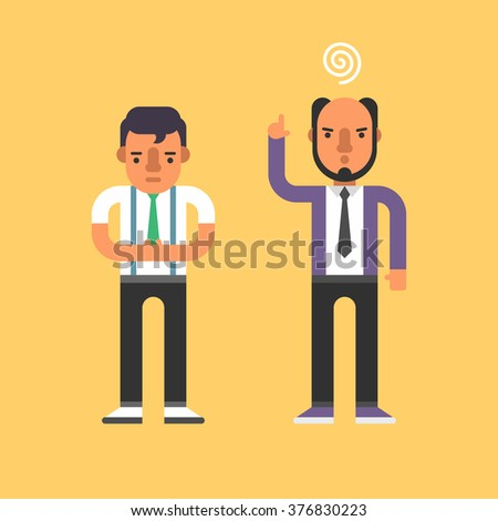 Chief Yells at Subordinate. Flat Style Vector Illustration