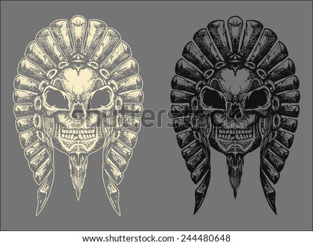 Chieftain head skull hand draw with invert color isolated - stock vector