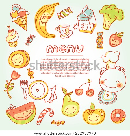 Child and baby food, menu with colorful fruits, vegetables, sweets, cookies with smile. Vector modern illustration, stylish design element - stock vector