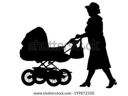 child and carriage on white background