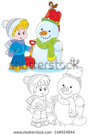 Child and snowman - stock vector