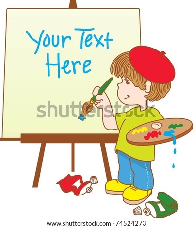 Child Artist Painting a Picture - stock vector