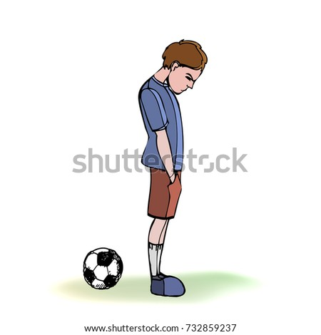 Child, boy, teen, teenager standing frustrated, football, soccer ball. Vector outlined illustration. Colored image, white background.