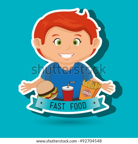 child cartoon boy fast food