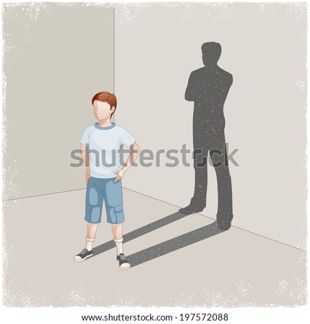 Child casting shadow of young man in vector - stock vector