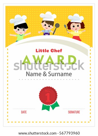 Cooking Certificate Template Cool Child Chef Award Cooking Class Kids Stock Vector 567793960 .